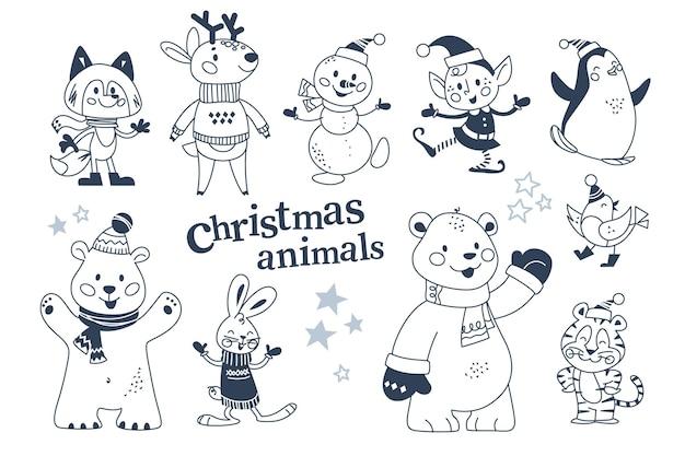 Personaggi di animali di buon natale in abiti invernali e pupazzo di neve, collezione di elfi isolata. orso polare, pinguino, coniglio, renna. illustrazione piana di vettore. per carta, banner, stampa, motivo, invito