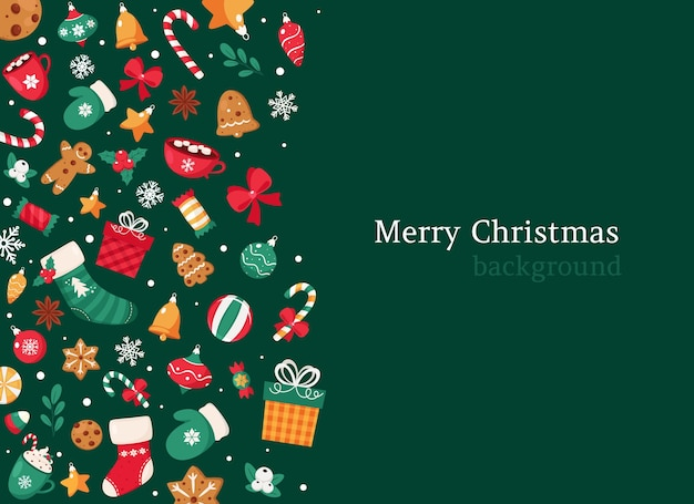 Sfondo di natale allegro. collezione di elementi natalizi.