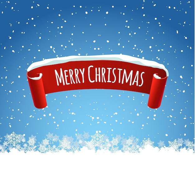 Illustrazione di sfondo di buon natale con etichetta rossa nastro realistico e neve. illustrazione tag inverno per la decorazione di vacanze.