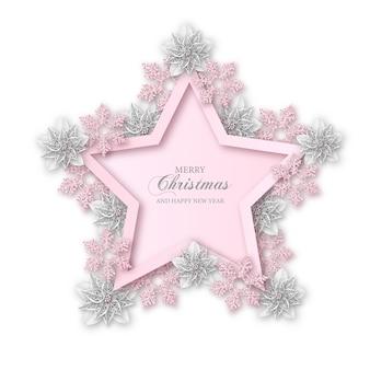 Sfondo di natale allegro. cornice a forma di stella con fiori bianchi di poinsettia e fiocchi di neve rosa