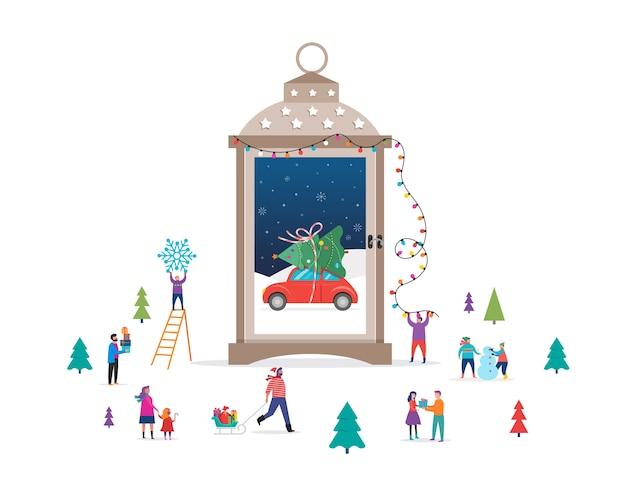 Sfondo di buon natale, scena del paese delle meraviglie invernale in un globo di neve, lanterna a candela e piccole persone, giovani uomini e donne, famiglie che si divertono nella neve