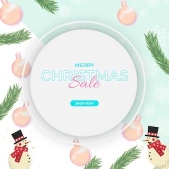 Sfondo di buon natale con elemento natalizio vettore premium