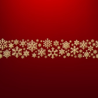Sfondo di natale allegro con fiocchi di neve d'oro. modello di biglietto. Vettore Premium