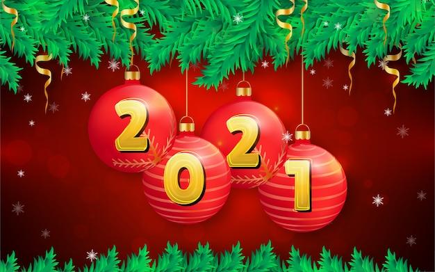 Sfondo di natale allegro con ornamenti natalizi realistici
