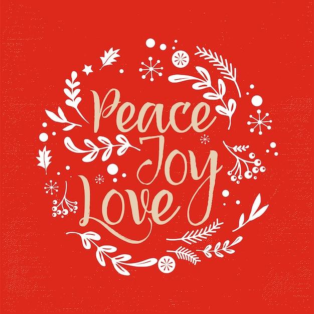 Sfondo di natale allegro con tipografia, scritte. biglietto di auguri - pace, gioia, amore