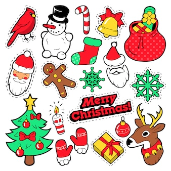 Distintivi di natale, patch, adesivi - babbo natale, pupazzo di neve, fiocco di neve, albero di natale in stile fumetto pop art. illustrazione