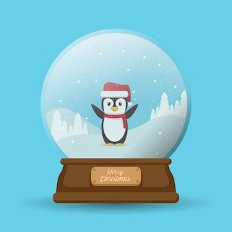 Buon natale palla giocattolo appeso pinguino uccello