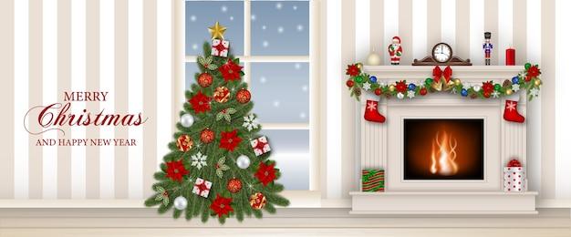 Bandiera di buon natale con camino e albero di natale