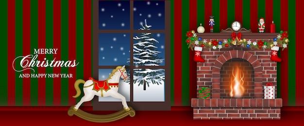 Banner di buon natale con camino e cavallo a dondolo