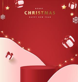 Banner di buon natale con display del prodotto di forma cilindrica e decorazioni festive per natale