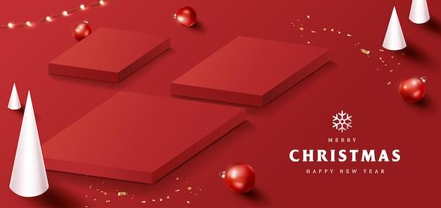 Banner di buon natale con display del prodotto di forma quadrata e decorazioni festive per natale