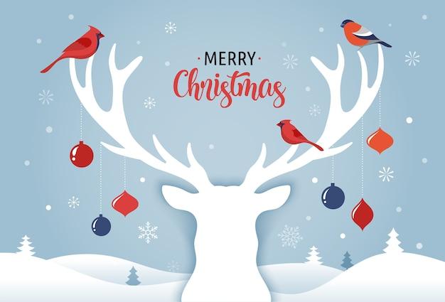 Banner di buon natale, sfondo modello di natale con sagoma di cervo, decorazioni natalizie e uccelli,