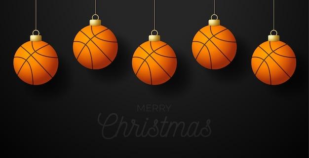Cartolina d'auguri di pallacanestro di buon natale