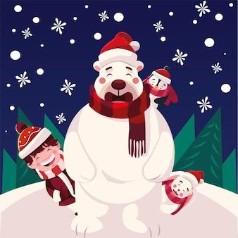 Buon natale orso ragazzo pinguino e coniglio, stagione invernale e tema della decorazione