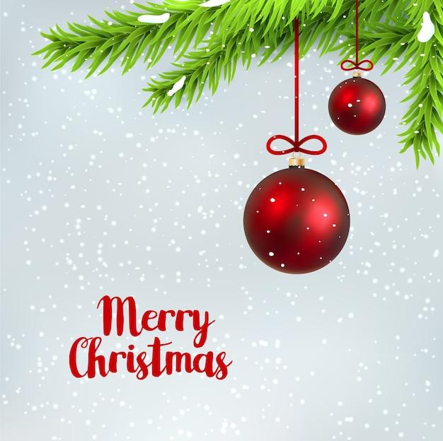 Abete del ramo di buon natale con palla di natale d'attaccatura. sfondo vacanza invernale con abete rosso. design decorativo stagionale.