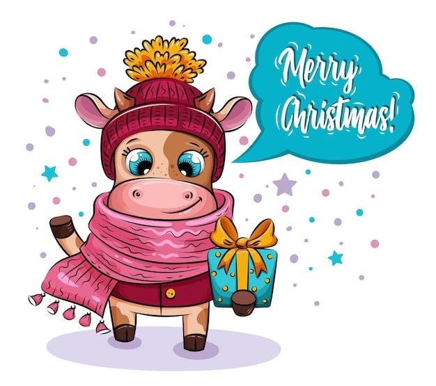 Merry christmas card. mucca del fumetto in cappello e sciarpa lavorati a maglia con il regalo di natale nel giorno nevoso.