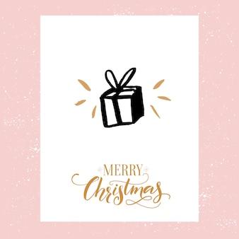 Cartolina di buon natale. design minimalista con icona regalo disegnata a mano e testo calligrafico decorato.