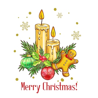 Merry christmas card in stile schizzo