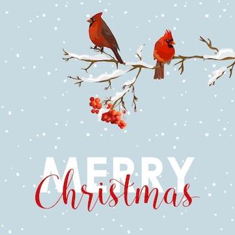 Cartolina di buon natale uccelli invernali con bacche di sorbo