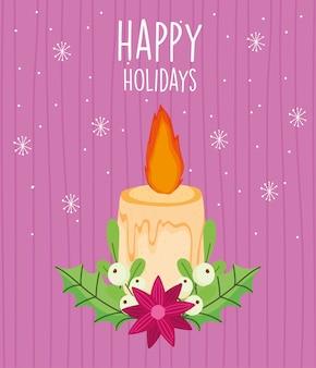 Merry christmas card con candela accesa fiore lascia i fiocchi di neve
