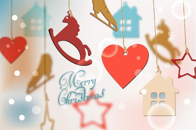 Merry christmas card con decorazioni colorate