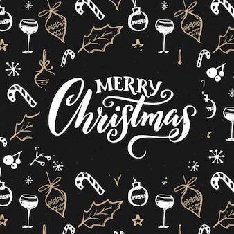 Cartolina di buon natale con decorazioni. design scuro con scarabocchi bianchi e dorati.