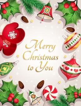 Merry christmas card con elementi decorativi