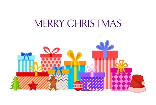 Merry christmas card con scatole regalo