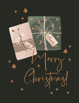 Merry christmas card con scatole regalo.