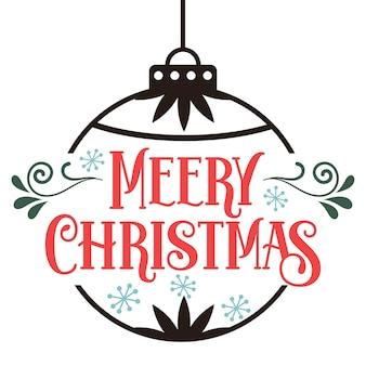 Merry christmas card con testo disegnato a mano