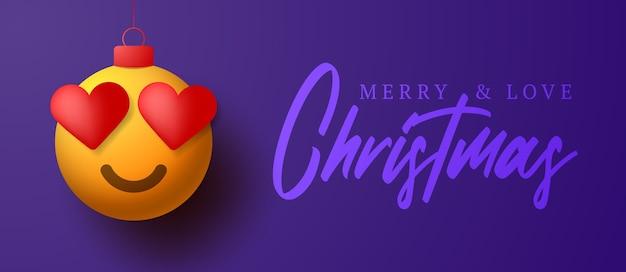 Merry christmas card con cuore sorriso emozione.