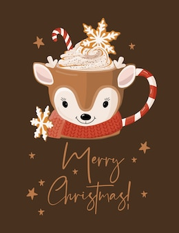 Merry christmas card con tazza.