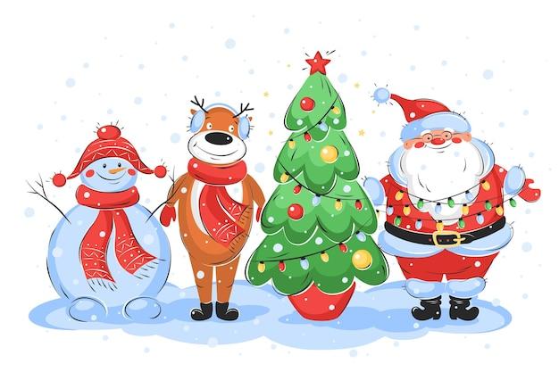 Merry christmas card con babbo natale albero di natale cervi e pupazzo di neve personaggi vacanze invernali