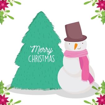 Merry christmas card con pupazzo di neve albero fiori foglie