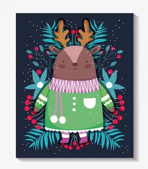Cartoline di natale allegri con simpatici cervi con maglione e foglie