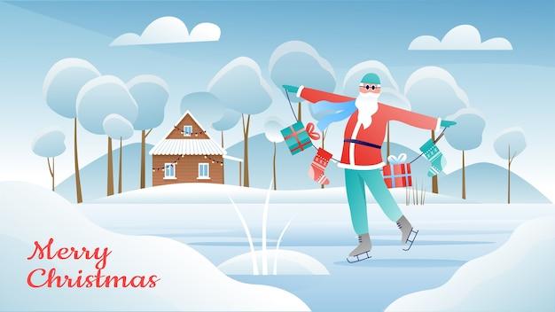 Cartolina d'auguri di inverno del fumetto di buon natale con pattinaggio su ghiaccio di babbo natale e calze di natale in possesso