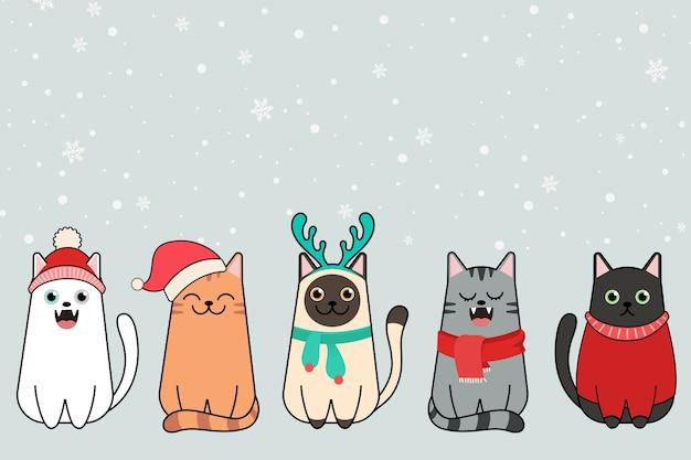 Gatti di buon natale, collezione di gatti con cappelli di babbo natale.