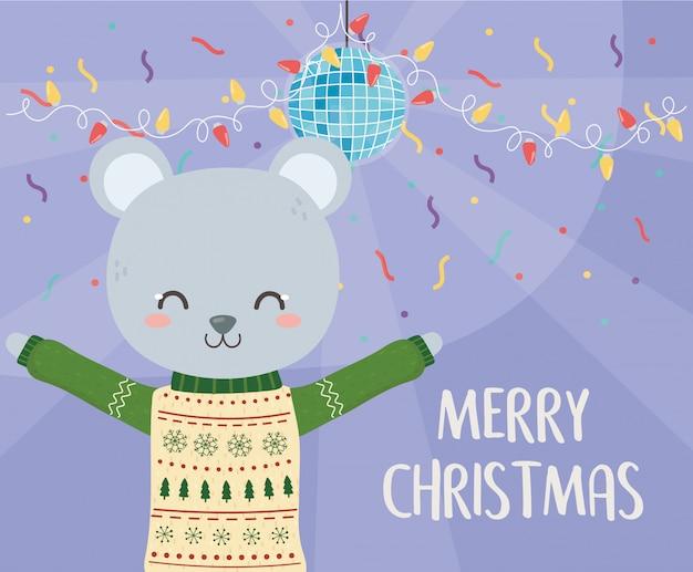 Celebrazione di buon natale coniglio carino con decorazione di coriandoli luci palla da discoteca