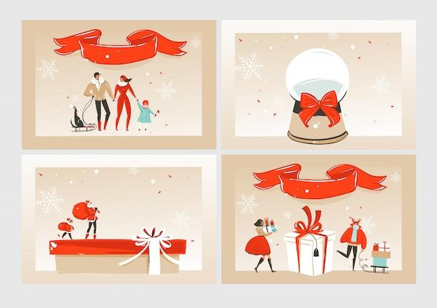 Insieme di raccolta di buon natale con illustrazioni carine