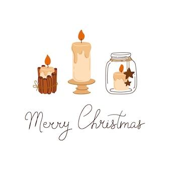 Composizione di buon natale con candele