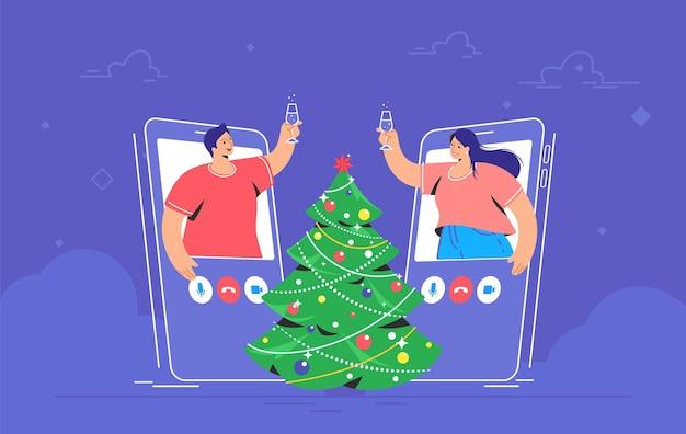 Congratulazioni di buon natale tramite videochiamata. illustrazione vettoriale di concetto di giovane donna e uomo si salutano con un bicchiere di champagne vicino all'albero di natale. saluti e auguri per le vacanze online