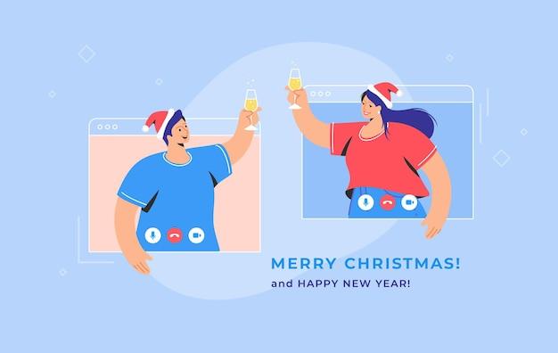 Congratulazioni di buon natale tramite videochiamata. illustrazione vettoriale di concetto di giovane donna e uomo si salutano con un bicchiere di champagne sullo schermo. saluti e auguri per le vacanze online