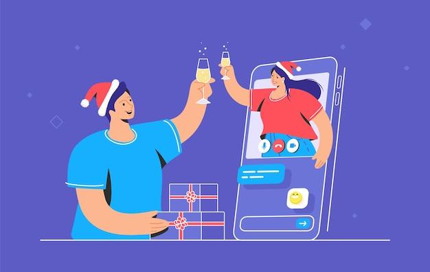 Congratulazioni di buon natale tramite videochiamata. l'illustrazione di vettore della giovane donna sta salutando il suo amico maschio con un bicchiere di champagne dallo schermo mobile. saluti e auguri per le vacanze online