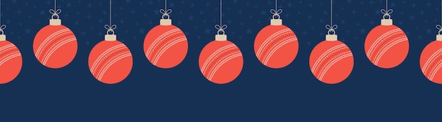 Merry christmas cricket seamless pattern orizzontale.