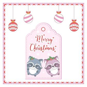 Buon natale simpatico cartellino con disegno di animali con ornamenti da colorare e cornice di caramelle