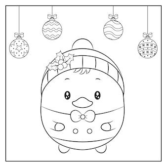 Buon natale carino disegno anatra bambino con abbozzo di ornamenti natalizi per la colorazione