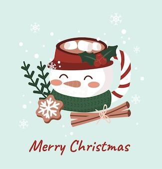 Buon natale carino caffè biscotto cibo dessert illustrazioni vettore