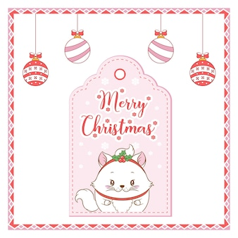 Buon natale simpatico gatto disegno con cartellino a bacca rossa per la stagione invernale con ornamenti da colorare