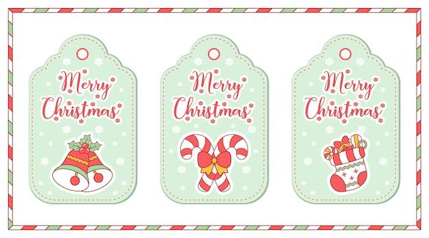Buon natale simpatici elementi da colorare tag disegno carta con neve per la stagione invernale