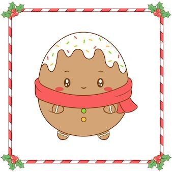 Buon natale simpatico disegno di biscotto allo zenzero da colorare con sciarpa rossa per la stagione invernale